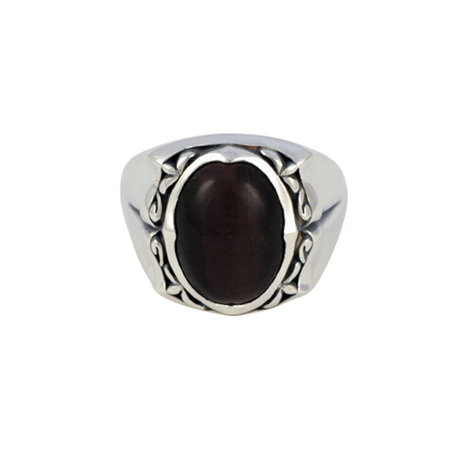 qabalah black cats eye stone mens ring