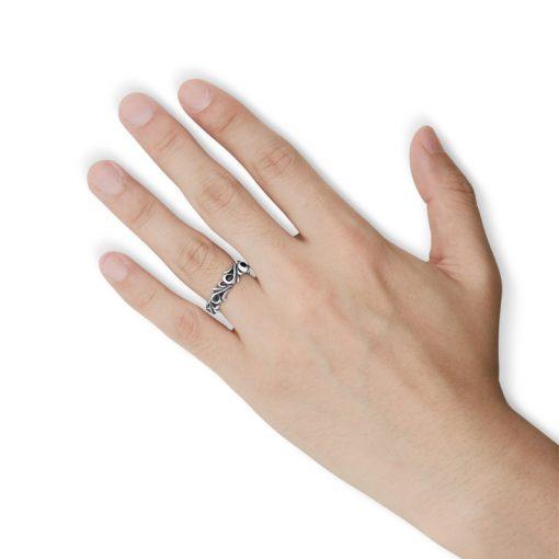 指にはめるアラベスク スクロール アンティーク シルバーリング