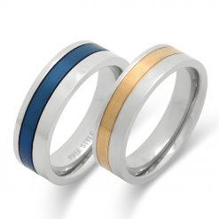 平打ちカラーコーティングステンレスペアリング-ゴールドカラー&ブルー